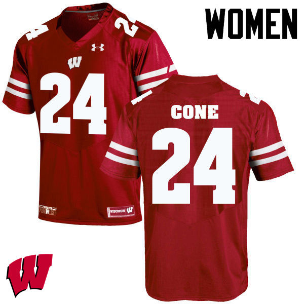 Women Winsconsin Badgers #24 Madison Cone College Football Jerseys-Red